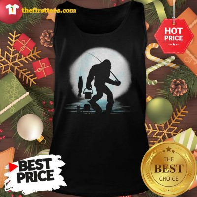 Official Bigfoot Fishing Shirt Funny Sasquatch And Fish Night Fishing Tank Top - Design by Thefristtees.com