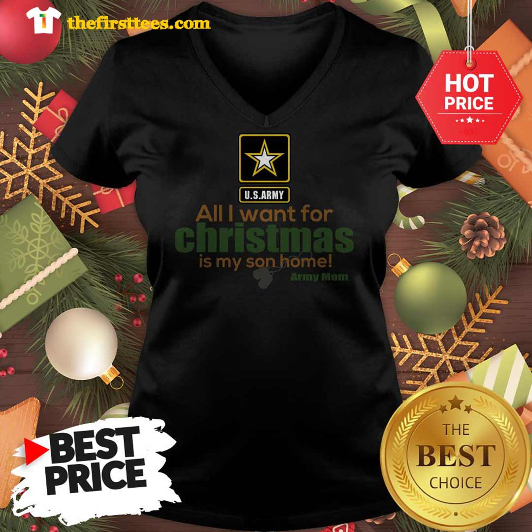 Official Army Mom All I Want For Christmas Is My Son Home V-Neck - Design by Thefristtees.com