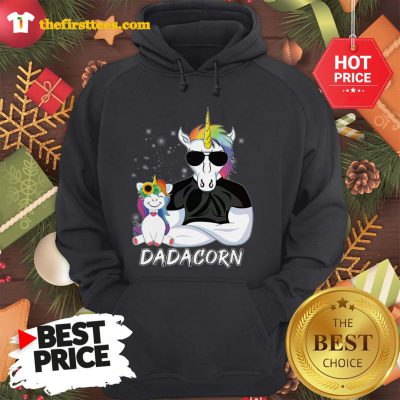 Official Dadacorn Unicorn Dad And Daughter Christmas Hoodie - Design by Thefristtees.com
