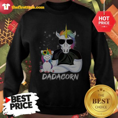 Official Dadacorn Unicorn Dad And Daughter Christmas Sweatshirt - Design by Thefristtees.com