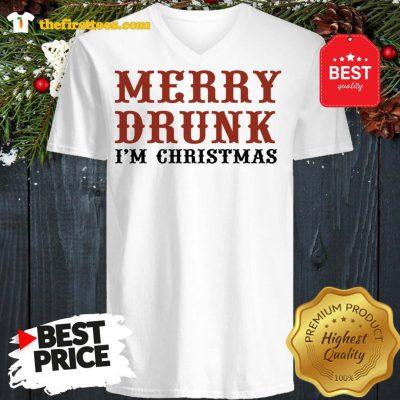 Official Merry Drunk I'm Christmas V-neck - Design by Thefristtees.com