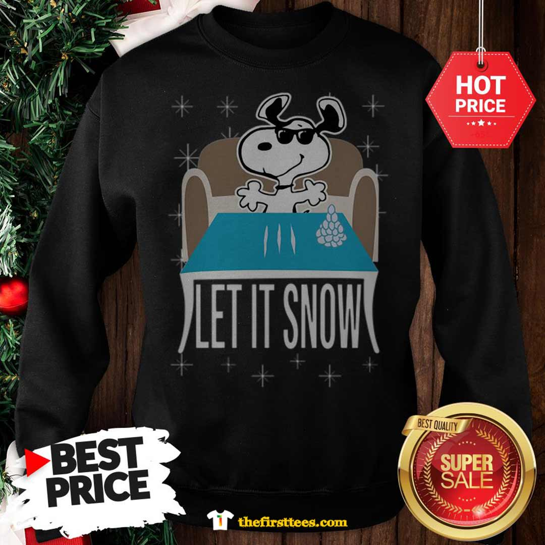 Official Top Snoopy Dog Walmart Cocaine Santa Let It Snow Christmas Sweatshirt - Design by Thefristtees.com