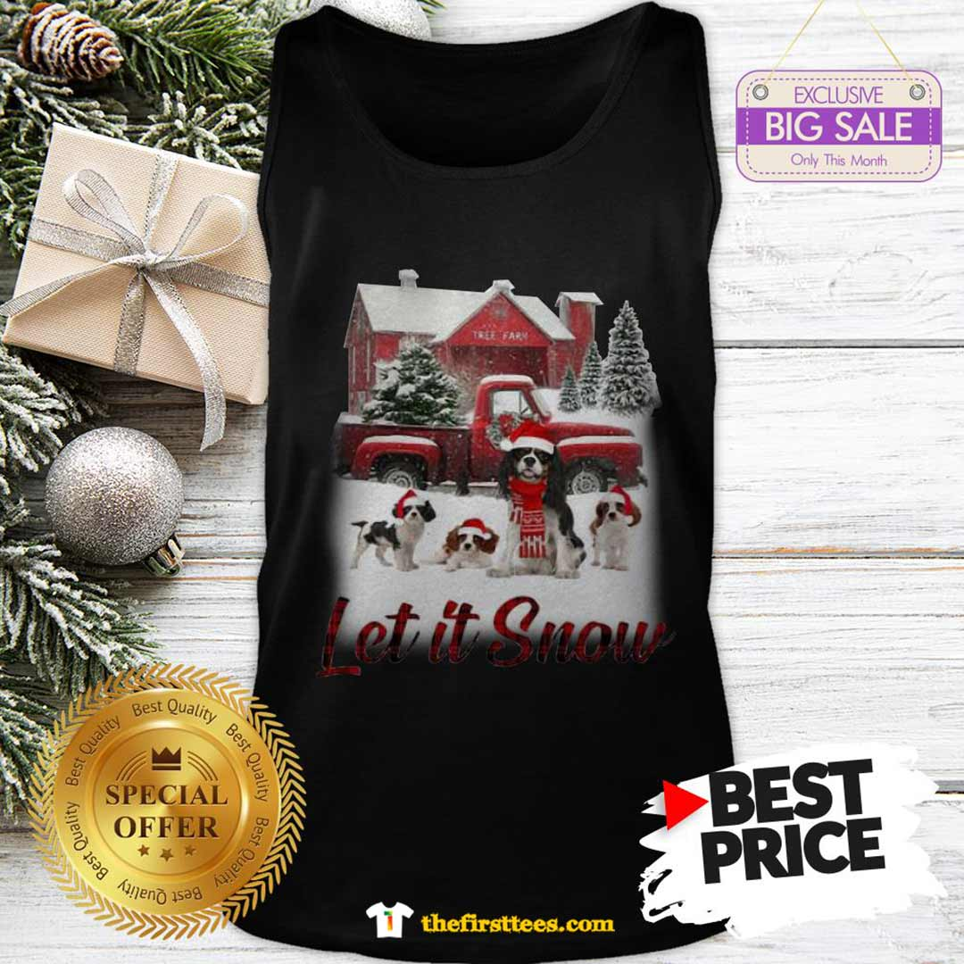 Pretty Cavalier King Charles Spaniel Let It Snow Christmas Tank Top - Design by Thefristtees.com
