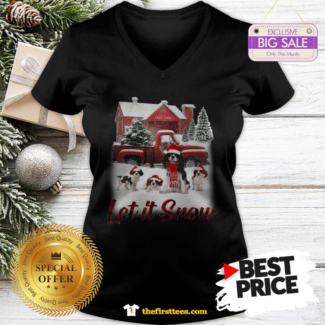 Pretty Cavalier King Charles Spaniel Let It Snow Christmas V-neck - Design by Thefristtees.com