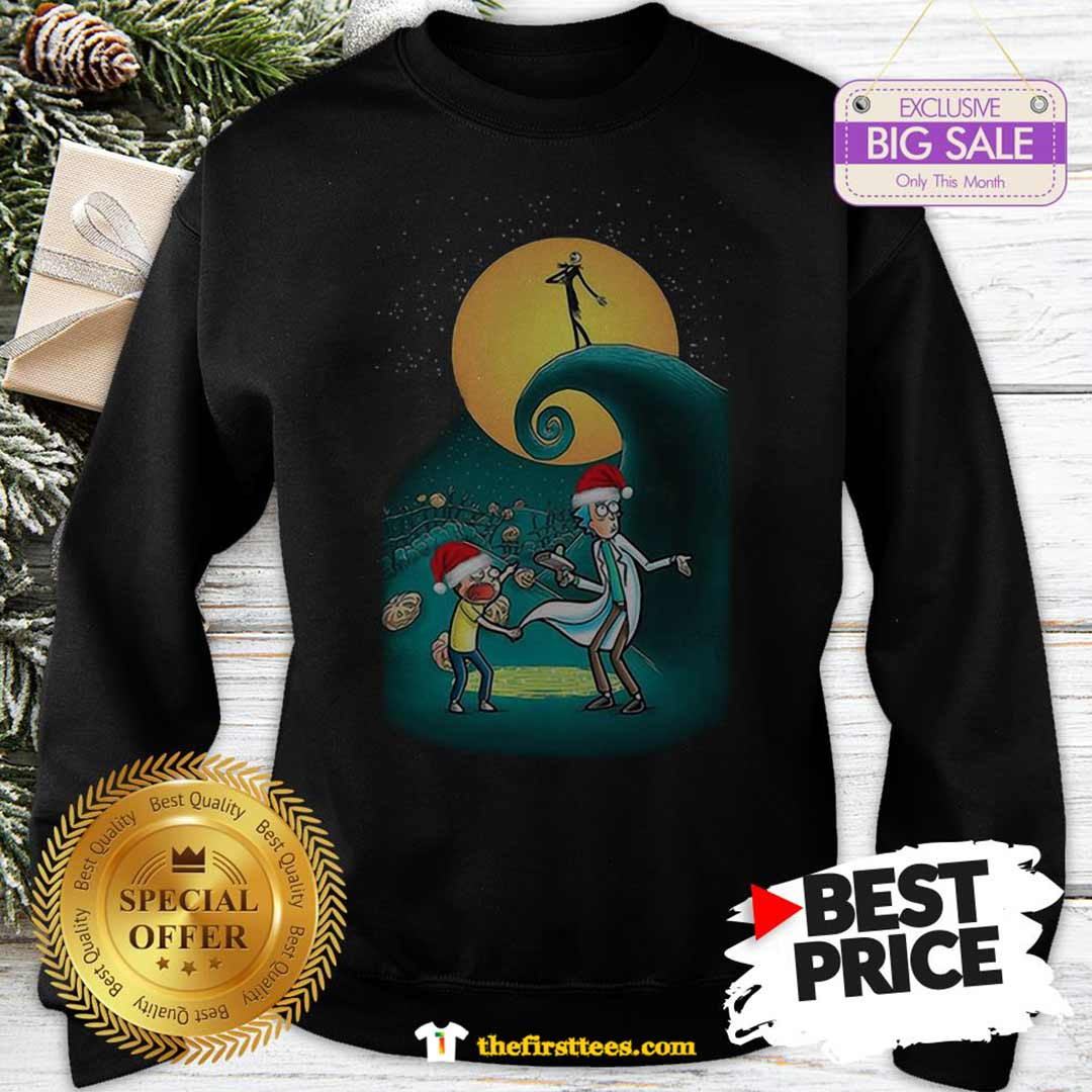Pretty Rick And Morty Nightmare Before Christmas Sweatshirt - Design by Thefristtees.com