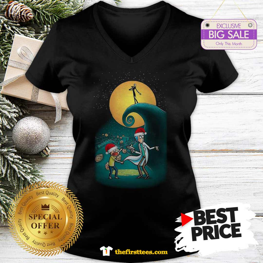 Pretty Rick And Morty Nightmare Before Christmas V-Neck - Design by Thefristtees.com