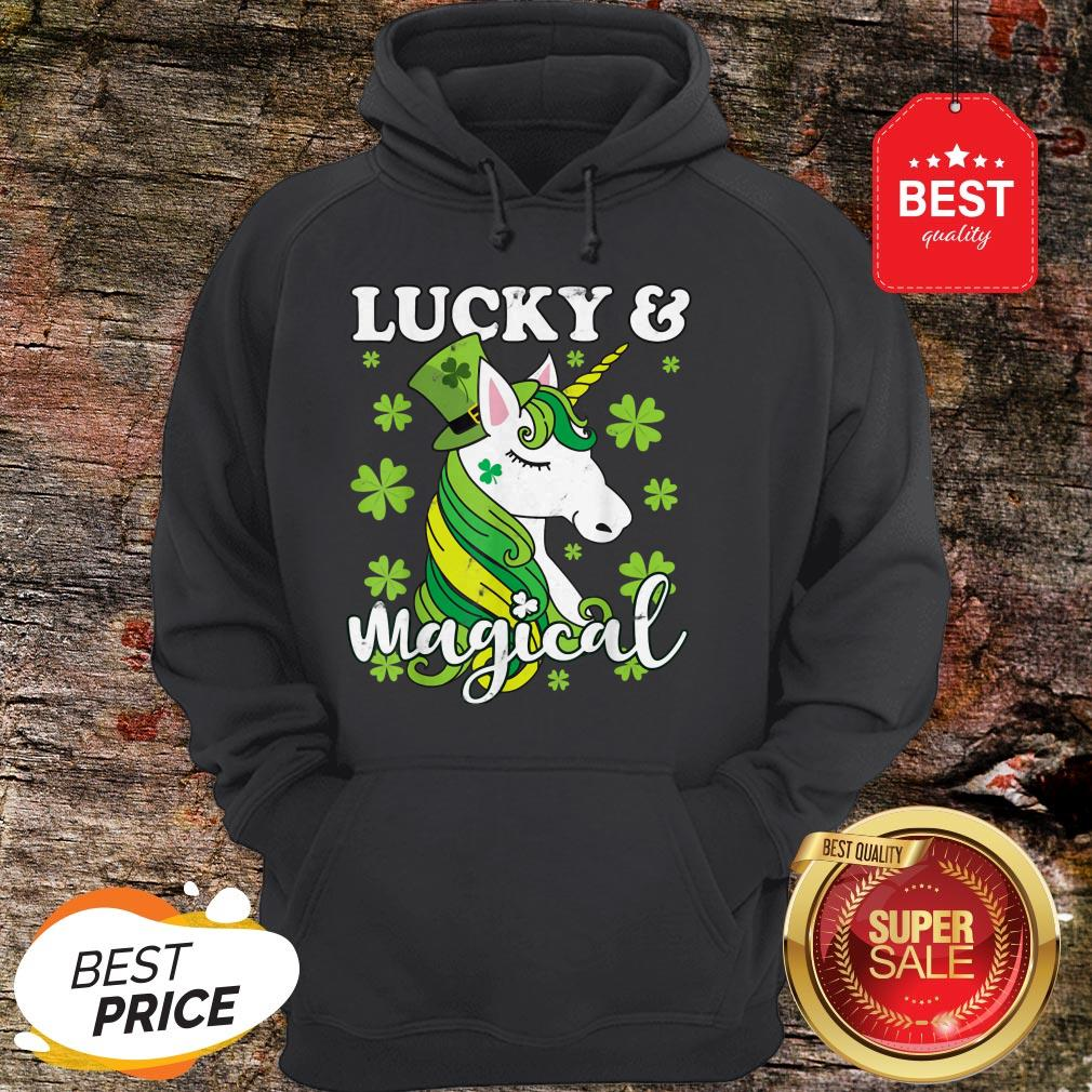 Unicorn Magical St Patricks Day Lepricorn Girl Women Costume Hoodie
