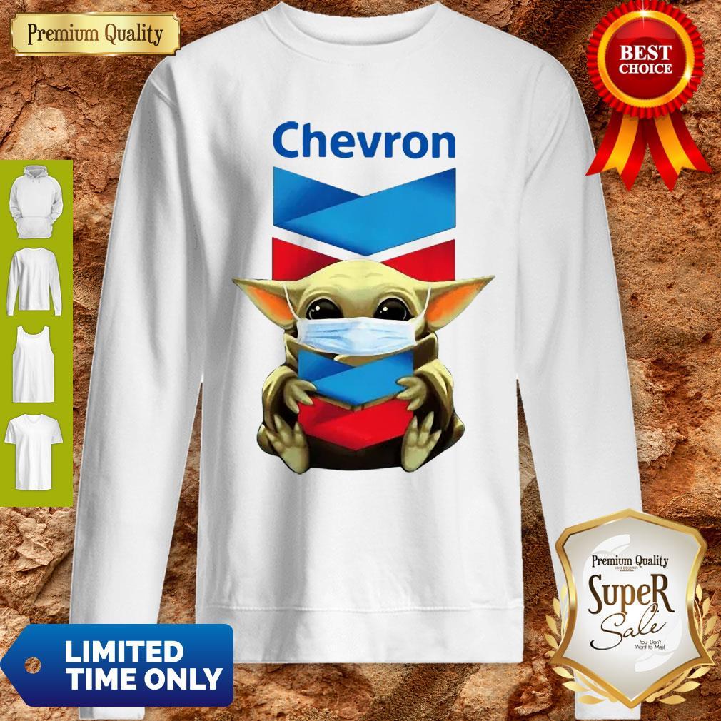 Baby Yoda Mask Chevron Coronavirus Sweatshirt