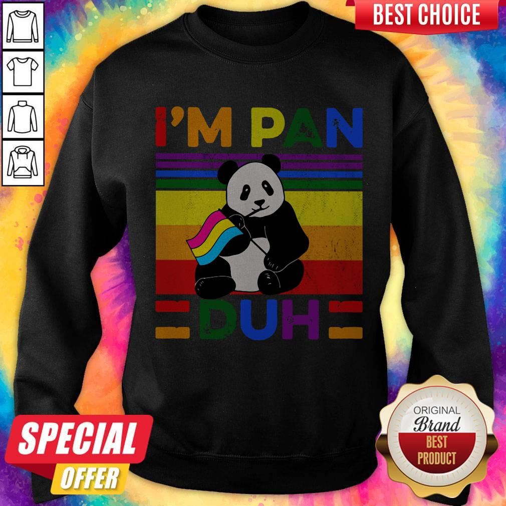 Cute LGBT Panda I'm Pan Duh Vintage Sweatshirt