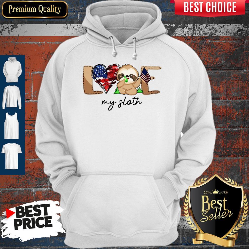 Cute Love My Sloth America Flag Hoodie