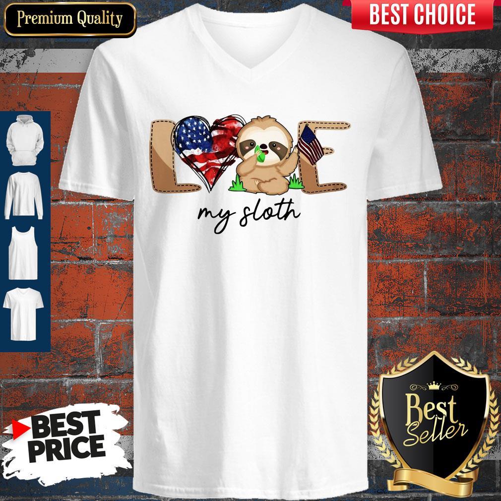 Cute Love My Sloth America Flag V-neck