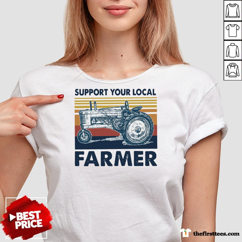 Hot Vintage Support Your Local Farmer Classic V-neck-Design By Wardtee.com