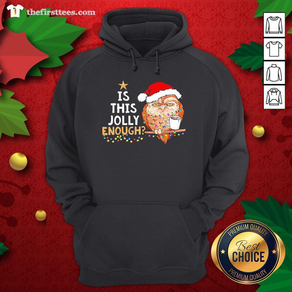 Cute Santa Owl Drink Coffee Is This Jolly Enough Christmas Hoodie - Design By Thefirsttees.com