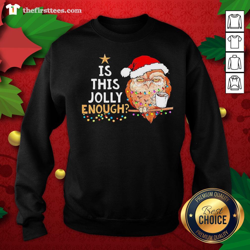 Cute Santa Owl Drink Coffee Is This Jolly Enough Christmas Sweatshirt - Design By Thefirsttees.com
