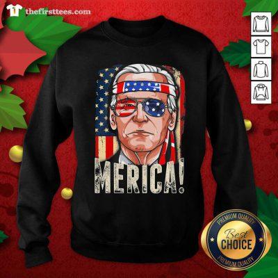 Joe Biden President Merica Wear Sunglasses And Ribbon American Flag Election Sweatshirt - Design by Thefristtees.com