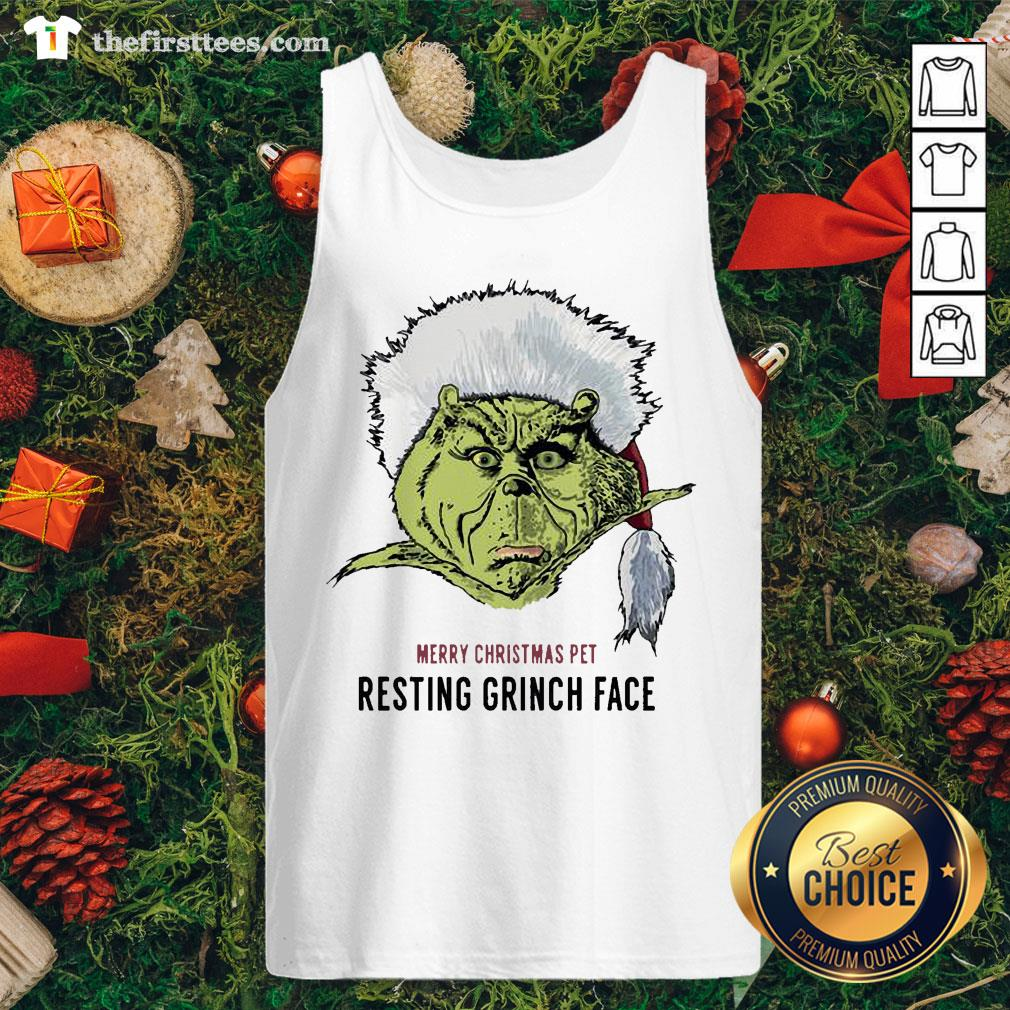 Funny Merry Christmas Pet Resting Grinch Face Tank Top - Design By Thefirsttees.com