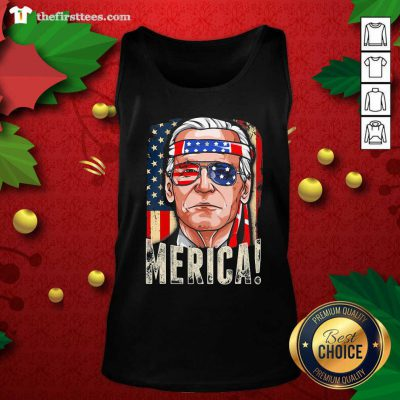 Joe Biden President Merica Wear Sunglasses And Ribbon American Flag Election Tank Top - Design by Thefristtees.com