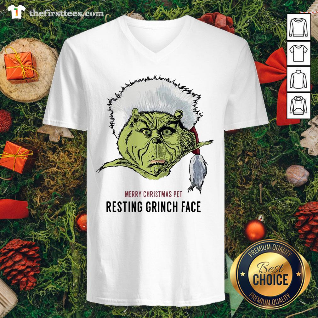 Funny Merry Christmas Pet Resting Grinch Face V-neck - Design By Thefirsttees.com