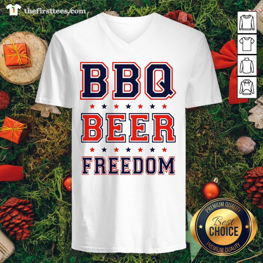 Premium BBQ Beer Freedom V-neck  - Design By Thefirsttees.com