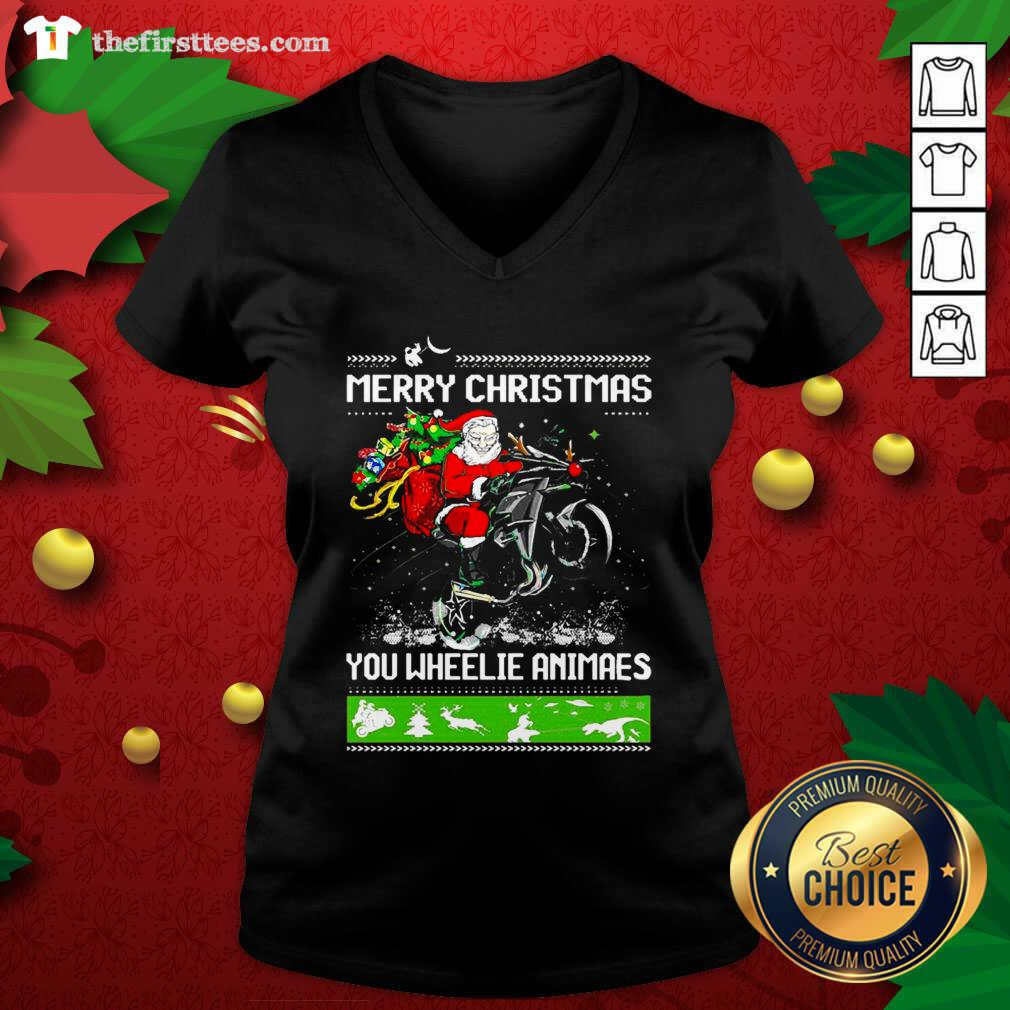 Santa Claus Motorcycle Merry Christmas You Wheelie Animals V-neck - Design by Thefirsttees.com