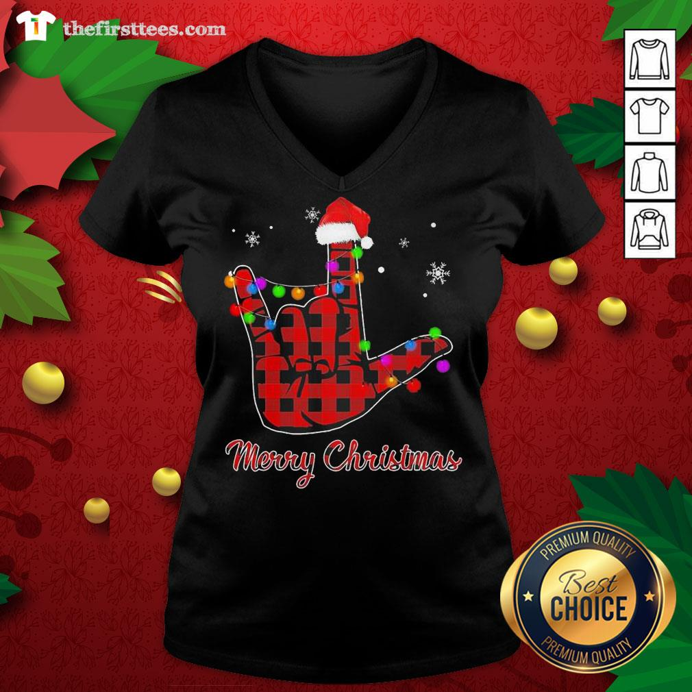 Grateful Plaid Post Malone Hand Santa Merry Christmas V-neck - Design By Thefirsttees.com