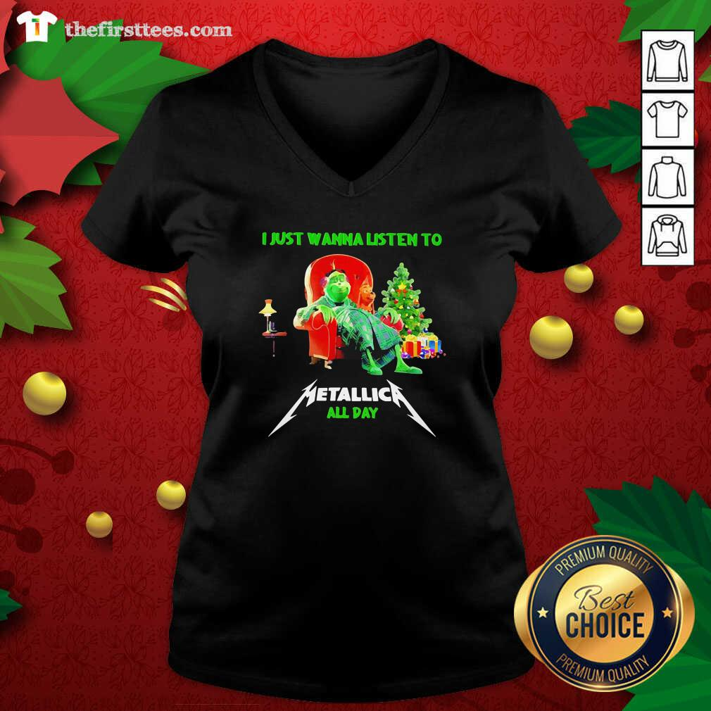 The Grinch And Dog I Just Wanna Listen To Metallica All Day V-neck - Design by Thefirsttees.com