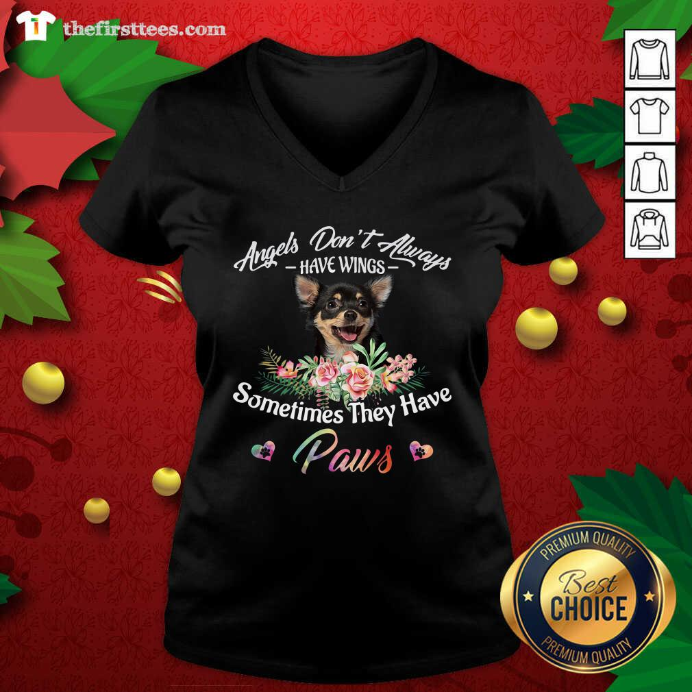 Angels Don't Always Have Wings Chihuahua Sometimes They Have Paws V-neck - Design by Thefirsttees.com