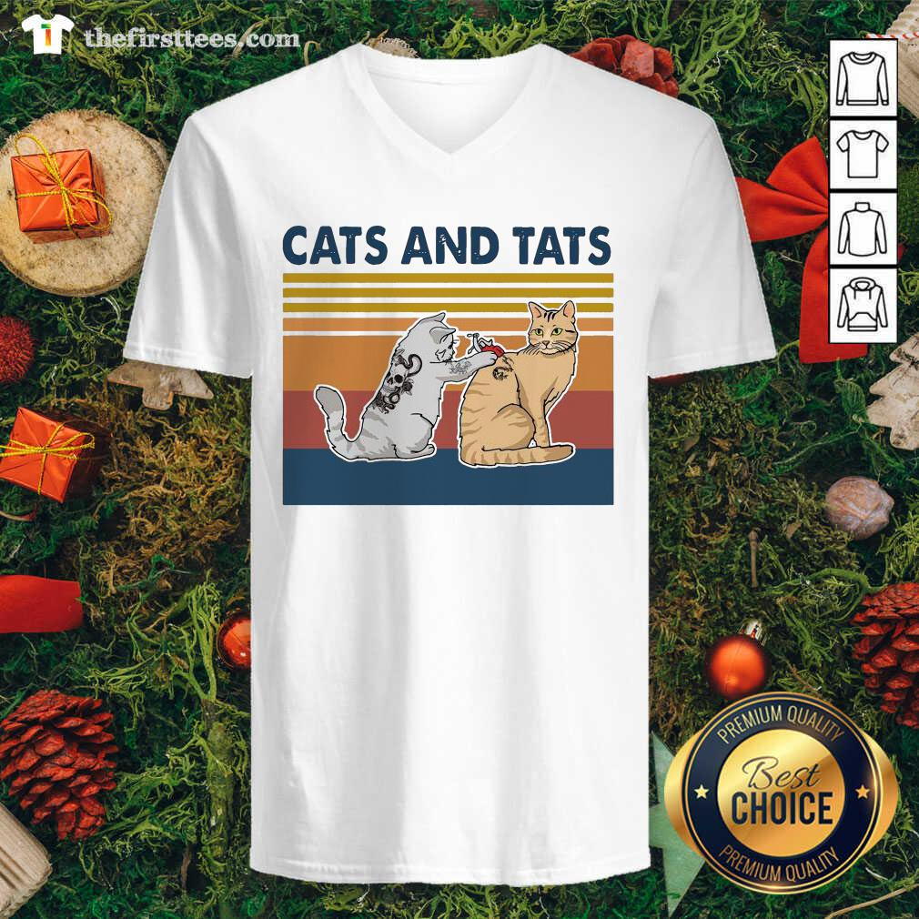 Cats And Tats Tattoo Vintage Retro V-neck - Design by Thefirsttees.com