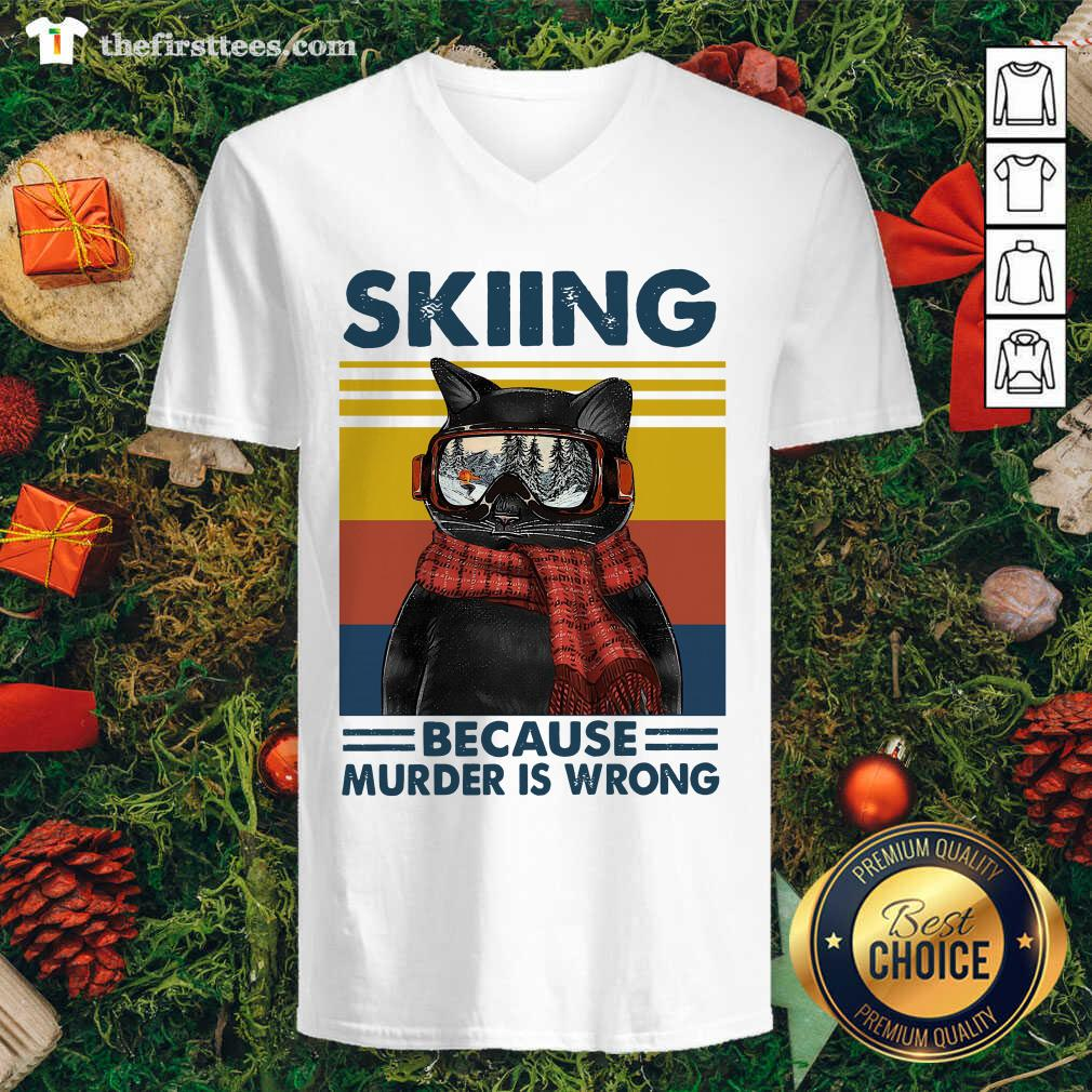 Black Cat Skiing Because Murder Is Wrong Vintage Retro V-neck - Design by Thefirsttees.com