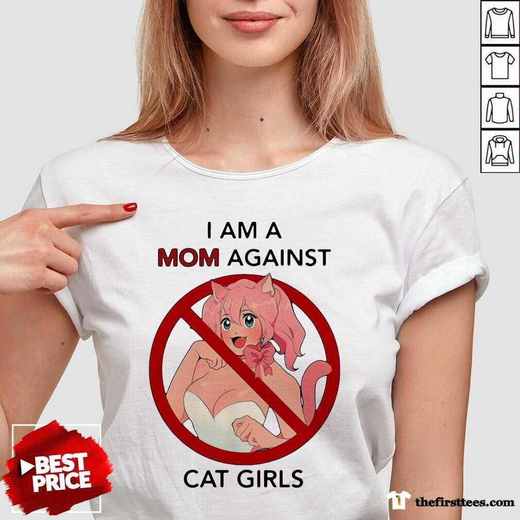 I Am A Mom Against Cat Girls Funny V-neck - Design by Thefirsttees.com
