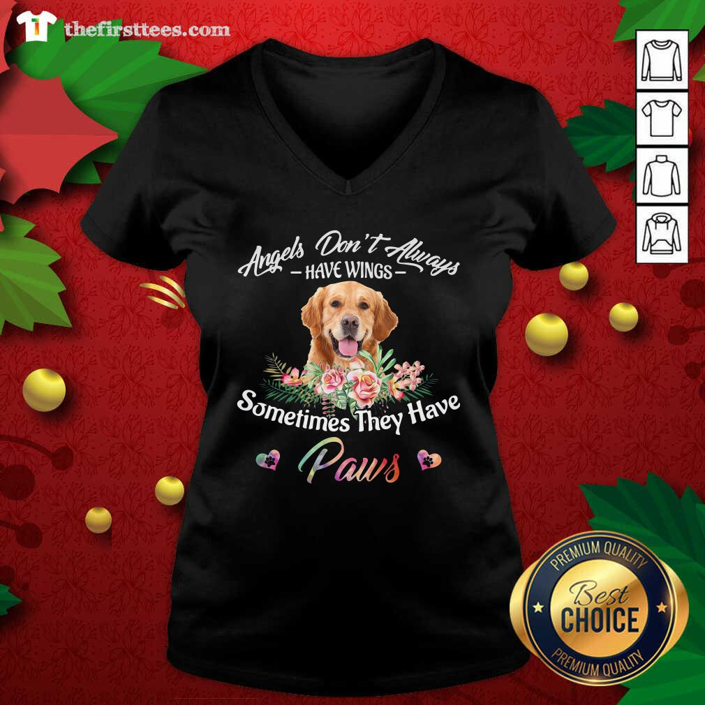 Angels Don't Always Have Wings Golden Retriever Sometimes They Have Paws V-neck - Design by Thefirsttees.com