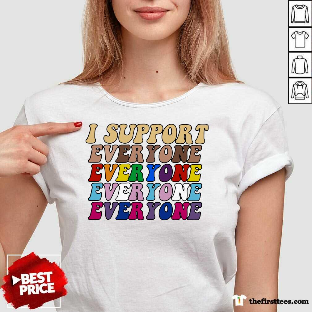I Support Everyone Everyone Everyone Lgbt Vintage V-neck- Design By Thefirsttees.com