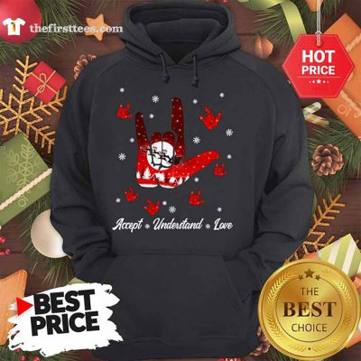 Accept Hand Sign Red Understand Love Christmas Hoodie - Design by Thefristtees.com