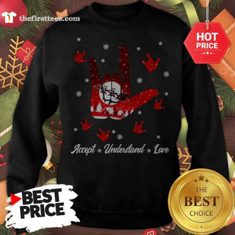 Accept Hand Sign Red Understand Love Christmas Sweatshirt - Design by Thefristtees.com