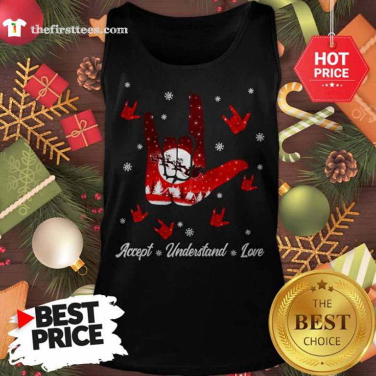 Accept Hand Sign Red Understand Love Christmas Tank Top - Design by Thefristtees.com