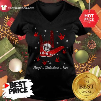 Accept Hand Sign Red Understand Love Christmas V-neck - Design by Thefristtees.com