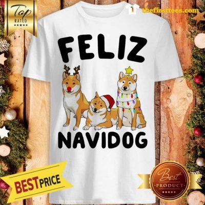 Feliz Navidog Shiba Inu Crewneck Lovely Christmas Shirt - Design by Thefristtees.com