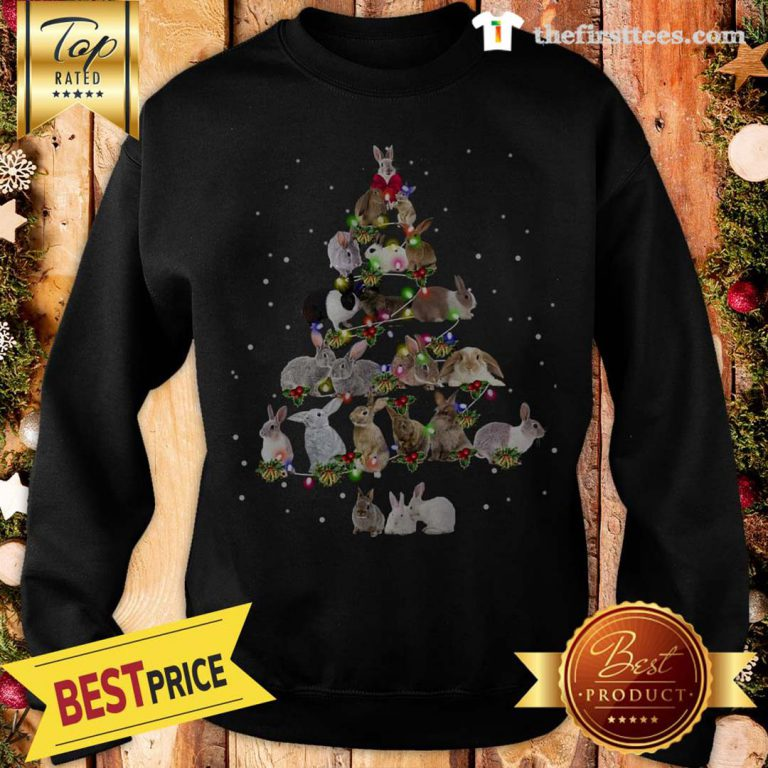 Lovely Rabbit Bunny Christmas Tree Gifts Xmas Costume Funny Sweatshirt - Design by Thefristtees.com