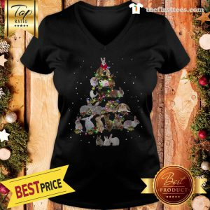Lovely Rabbit Bunny Christmas Tree Gifts Xmas Costume Funny V-Neck