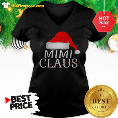 Official Beautiful Mini Claus Funny Christmas Pajamas Matching Grandmother Gift V-neck - Design by Thefristtees.com