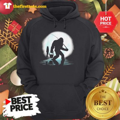 Official Bigfoot Fishing Shirt Funny Sasquatch And Fish Night Fishing Hoodie - Design by Thefristtees.com