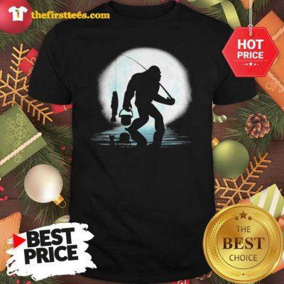Official Bigfoot Fishing Shirt Funny Sasquatch And Fish Night Fishing Shirt - Design by Thefristtees.com