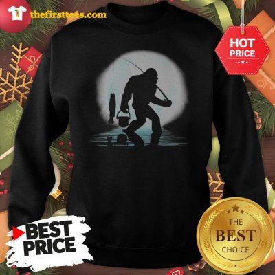 Official Bigfoot Fishing Shirt Funny Sasquatch And Fish Night Fishing Sweatshirt - Design by Thefristtees.com