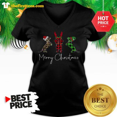 Official Dachshund Leopard Plaid Printed Merry Christmas V-neck - Design by Thefristtees.com