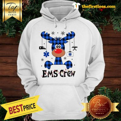 Official EMS Crew Christmas Reindeer With Gift Classic Hoodie - Design by Thefristtees.com