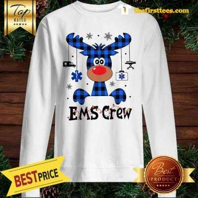 Official EMS Crew Christmas Reindeer With Gift Classic Sweatshirt - Design by Thefristtees.com