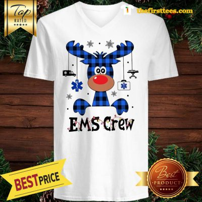 Official EMS Crew Christmas Reindeer With Gift Classic V-Neck - Design by Thefristtees.com