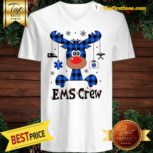 Official EMS Crew Christmas Reindeer With Gift Classic V-Neck
