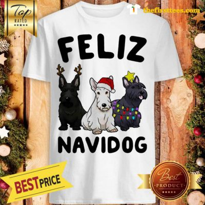 Official Feliz Navidog Scottish Terrier Dog Crewneck Christmas Shirt - Design by Thefristtees.com