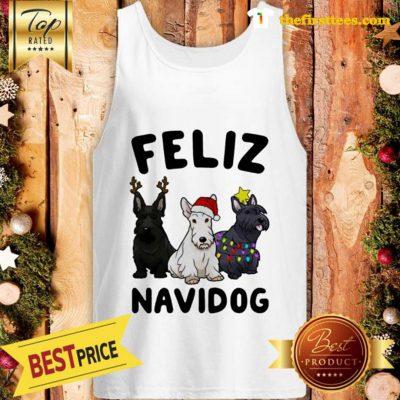 Official Feliz Navidog Scottish Terrier Dog Crewneck Christmas Tank top - Design by Thefristtees.com